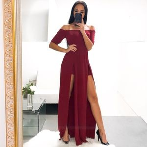 🌹 Burgundy Off The Shoulder Maxi Dress Romper
